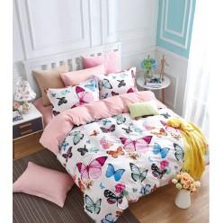Комплект постельного белья сатин белый с яркими бабочками