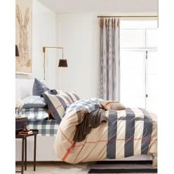 Комплект постельного белья сатин бежевый в коричневую полоску