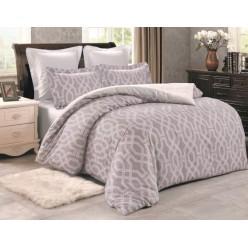 Комплект постельного белья сатин двусторонний светло коричневый с орнаментом