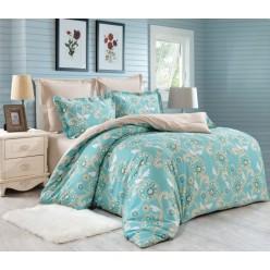 Комплект постельного белья сатин двусторонний бирюзовый с орнаментом