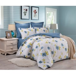 Комплект постельного белья сатин двусторонний белый с веселыми цветами