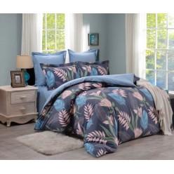 Комплект постельного белья сатин двусторонний глубокий синий с листьями
