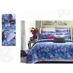 Постельное белье премиум шелковый сатин синий с цветами