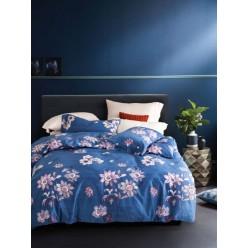 Комплект постельного белья премиум сатин синий с цветами