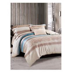 Комплект постельного белья премиум сатин бежевый в полоску