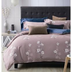Комплект постельного белья премиум сатин светло коричневый с белыми цветами
