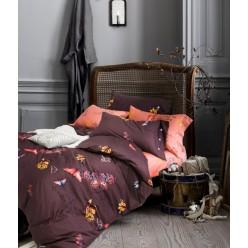Комплект постельного белья премиум сатин коричневый с яркими бабочками