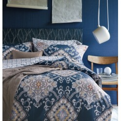 Комплект постельного белья премиум сатин дымчато синий с орнаментом