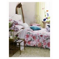 Комплект постельного белья премиум сатин белый с яркими цветами
