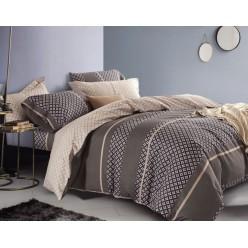 Комплект постельного белья премиум сатин двусторонний коричневый с бежевым