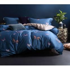 Комплект постельного белья двусторонний премиум сатин синий с бабочками