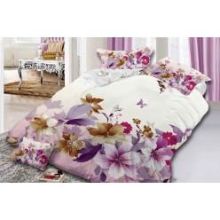 Семейное постельное белье с 3D рисунком из полисатина белое с цветами