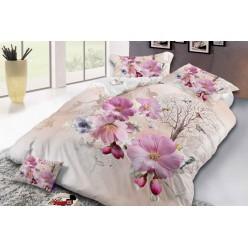 Семейное постельное белье с 3D рисунком из полисатина бежевое с цветами