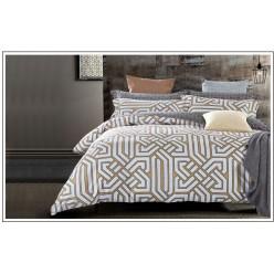Семейное постельное белье с 3D рисунком из полисатина белое с орнаментом