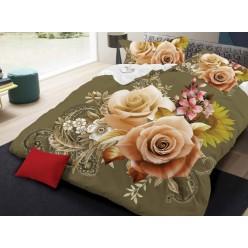 Семейное постельное белье с 3D рисунком из полисатина оливковое с розами