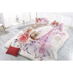 Семейное постельное белье с 3D рисунком из полисатина кремовое Париж