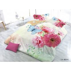 Семейное постельное белье с 3D рисунком из полисатина кремовое с бабочками