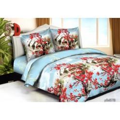 Комплект постельного белья голубой с принтом