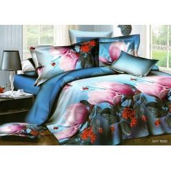 Комплект постельного белья ярко синий c 3D рисунком