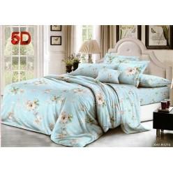 Комплект постельного белья нежно голубой с белыми цветами