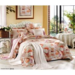 Постельное белье премиум шелковый тенсель персиковое с цветами