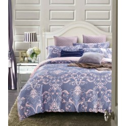 Комплект постельного белья премиум сатин двусторонний синий с орнаментом