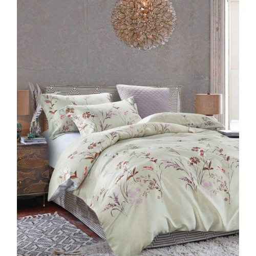 Комплект постельного белья премиум светло бежевый с полевыми цветами