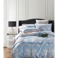 Комплект постельного белья двусторонний премиум сатин голубой с орнаментом
