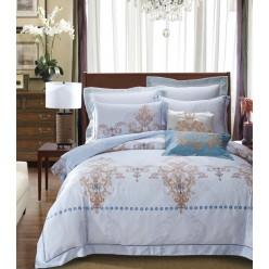 Комплект постельного белья премиум сатин светло голубой с орнаментом