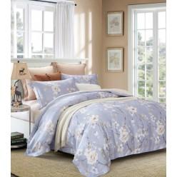 Комплект постельного белья премиум сатин дымчато голубой с белыми цветами