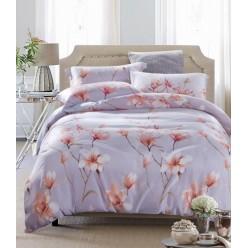 Комплект постельного белья премиум сатин дымчато серый с цветами
