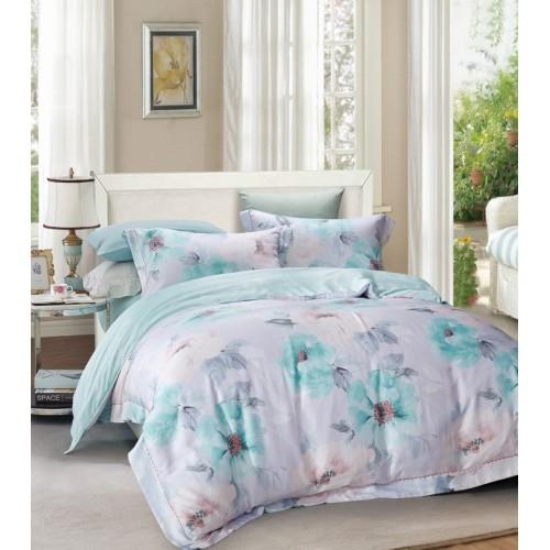 Комплект постельного белья двусторонний премиум сатин светло бирюзовый с цветами