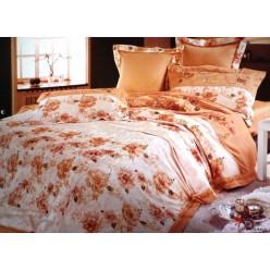 Постельное белье сатин персиковое с цветами