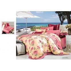 Постельное белье сатин розовое с цветами
