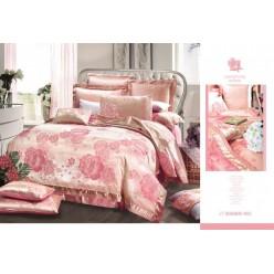 Постельное белье сатин жаккард розовое
