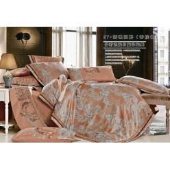 Постельное белье Сатин Жаккард коричневое с серебряным орнаментом