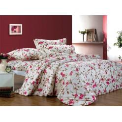 Постельное белье поплин кремовое с розовыми цветами