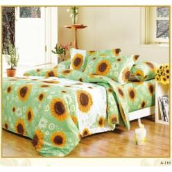Постельное белье хлопковое, поплин, зеленое с крупными подсолнухами