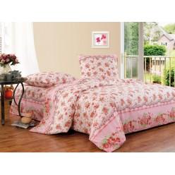 Постельное белье хлопковое, поплин, розовое с красными цветочками