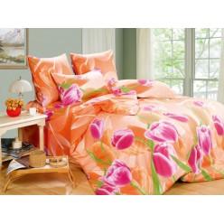 Постельное белье хлопковое поплин оранжевое с цветами