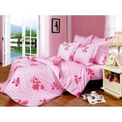 Постельное белье хлопковое поплин розовое в полоску и с цветами