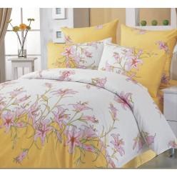 Постельное белье хлопковое поплин желтое с белым и с розовыми цветами