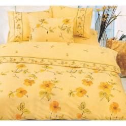 Постельное белье хлопковое поплин желтое с желтыми цветами