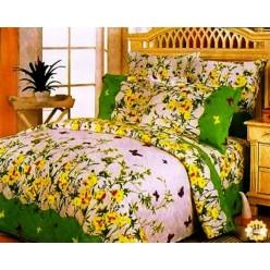 Постельное белье поплин зеленое с полевыми цветами