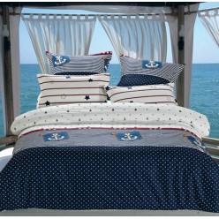 Детский комплект постельного белья сатин синий морской с якорем