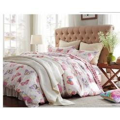 Семейное постельное белье сатин белое с бабочками