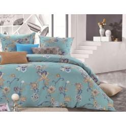 Семейное постельное белье двустороннее из сатина дымчато бирюзовое с цветами