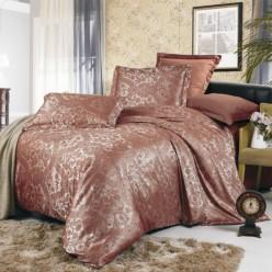Постельное белье сатин жаккард коричневое с орнаментом