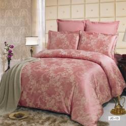 Постельное белье сатин жаккард розовое с орнаментом