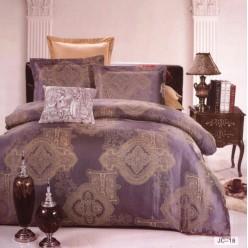 Постельное белье сатин жаккард фиолетовое с бронзовым орнаментом